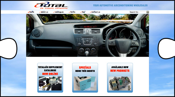 Total Air website with online catalogue designed and built by Jigsaw Design and webhosted too